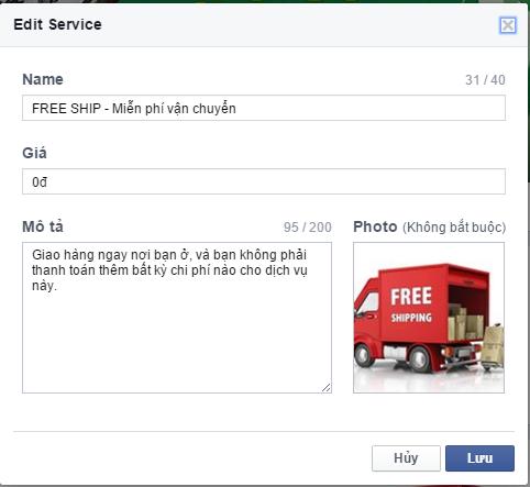 Facebook Cửa hàng - Dịch vụ 3